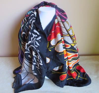 "Vintage Diane Freis 100% Silk Scarf 42"" square gorgeous colors on black Korea"