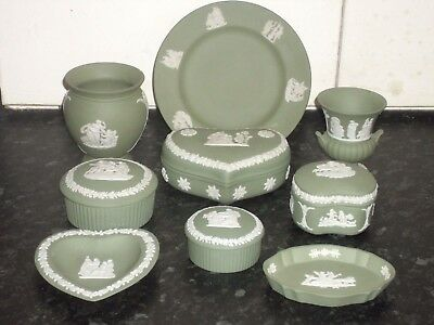 Wedgwood Sage Green Jasper Ware 9 Piece Collection Set 3 see others