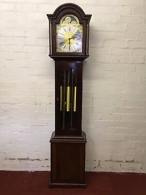 "Top Quality Mahogany ""rolling Moon"" Brass Faced Grand Daughter Clock"