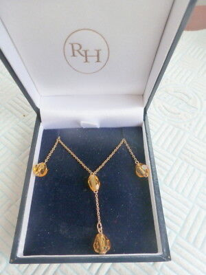 Antique Art Deco 9 Carat Gold Chain with Amber Glass Drops