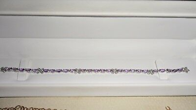 Stunning 9ct white gold Amethyst and Diamond bracelet  NEW