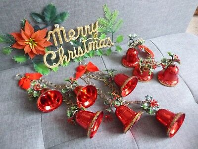 Vintage Christmas Tree Ornaments / Hanging Decorations 1960's  Bells Sign