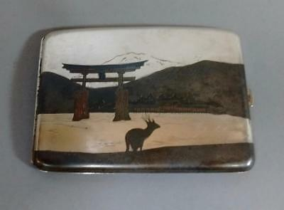 Vintage Japanese Mixed Metal Solid Silver Cigarette Case Mountain Gate Lake Deer
