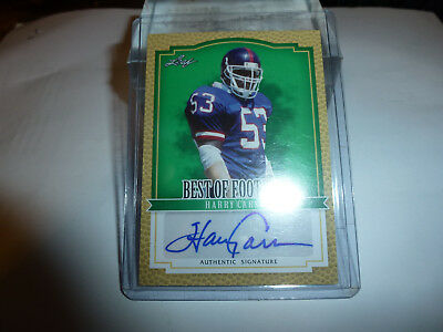 Leaf Best Of Football Signature Nfl Card Harry Carson Auto Giants