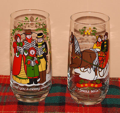 (2) Pepsi Christmas Collection '84 Glasses Wish u Merry Christmas Jingle Bells