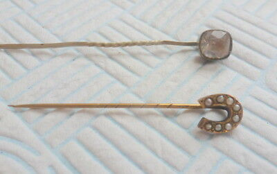 Two Antique Hat/stick Pins One Set With Seed Pearls