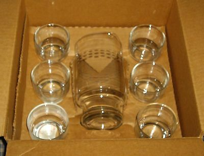 VNT Princess House Etched Crystal Cocktail Martini Set 8 pce #407 Mint in Box