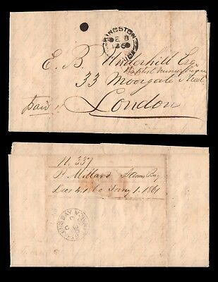 JAMAICA 1860 Stampless Letter from St Anne's Bay to E B Underhill Esq in London