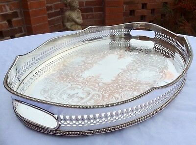 "Fine Quality 18.5"" Sheffield Silver On Copper Footed Rise & Fall Gallery Tray"