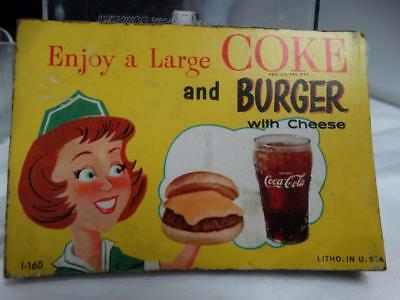 """Lot of 24 1960 Coca Cola  """" Enjoy A Large Coke & Burger """"  Advertising Stickers"""