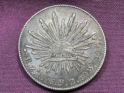T2: World Coin Zacatecas Mexico 8 Reales 1896 Zs F Z