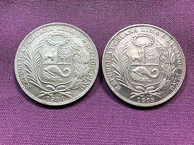 T2: World Coins Peru 1934 & 1935 Silver Sol Free Shipping in U.S.