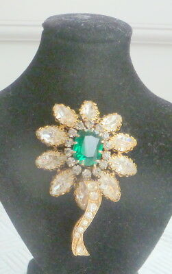 Large Statement Vintage Brooch Set With Clear And Green Stones