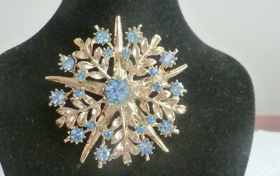 Nice Silver Tone  Vintage Brooch Set With Clear And Blue  Stones