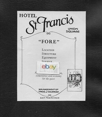 St Francis Hotel San Francisco 1924 In Union Square 14 Stories Of Comfort Ad