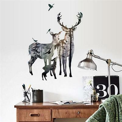 Deer Silhouette Removable Quotes Wall Stickers Art Decal Home Christmas Decor CB