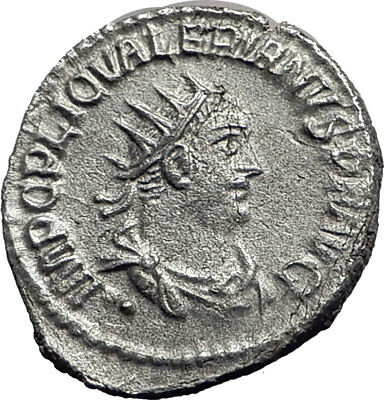 VALERIAN I receiving wreath from Oriens 255AD Silver Ancient Roman Coin i64703