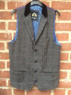 Marc Darcy London Brown Tweed Style Waistcoat - Chest 36R