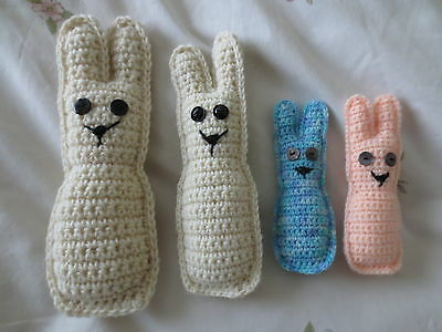 """NEW HAND CROCHETED SOFT RABBIT FAMILY BUNNY SIZES 5 - 9"""" (Alzheimers fiddle toy)"""