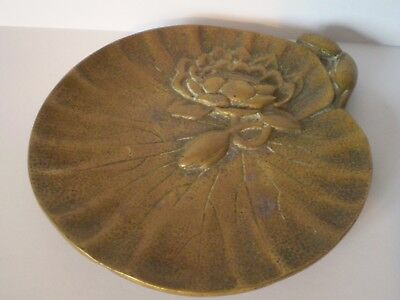 Stunning Art Nouveau Brass Water Lily Design Calling Card Tray