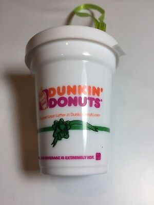 Rare Dunkin Donuts Green Ribbon Coffee Cup Christmas Ornament