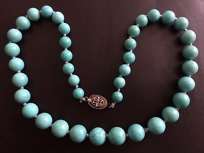 Chinese Turquoise Graduated Knotted Beads Gilt Silver Clasp Necklace Estate Item