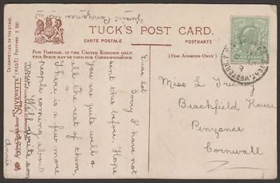 KEVII 1905 ½d Used on Picture Postcard with Great Western TPO UP NIGHT Postmark