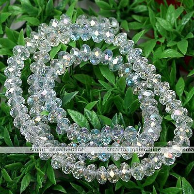 4mmx6mm Fashion Clear AB Crystal Glass Faceted Rondelle Loose Beads Jewelry Gift