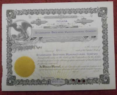 31496 USA 19-- Unissued Studebaker Brothers Manufacturing ...Indiana shares cert