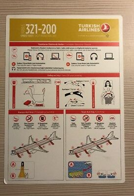 Turkish Airlines Airbus 321 200 A321-200 Safety Card Sicherheitskarte NEW 2017!