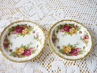 Pair Of 1962  Royal Albert Old Country Roses Bone China Coasters / Butter Pats