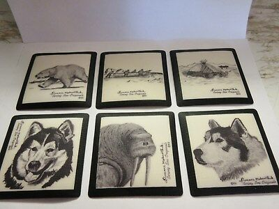 Florence Malewotkuk Bering Sea Originals Plastic Coasters Set of 6 W/ Orig. Case