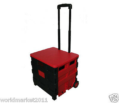 New Convenient Red Plastic Two Wheels Collapsible Shopping Luggage Trolleys