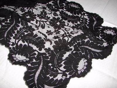 Beautiful Antique Victorian Black Spanish Lace,Shawl,Mantilla~106ins Long~TLC