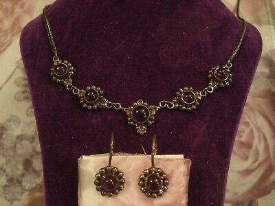 A Beautiful Matching Set; Amethyst Gems Set Sterling Silver: Necklace & Earrings