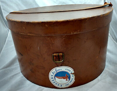 "Leather Antique Hat Box Arthur Gil NY Eastern Airlines Sticker Luggage 16"" VTG"