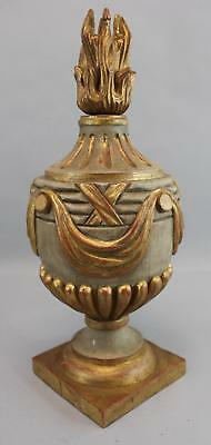 Large Hand Carved & Painted Architectural Urn w/ Flame Finial, NR
