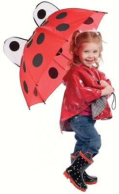 Children's Ladybug Umbrella for Boys & Girls Adorable! Hook Handle