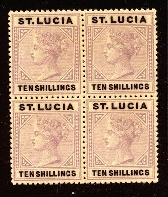 St.lucia 1891 Victoria 10/ Block X4 Mint.(No Gum) Forgery.     A93