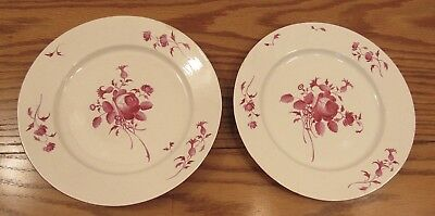"2 antique hand painted plates Red Rose design 9"" floral"