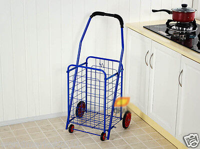 %H New Convenient Blue Iron Basket Four Wheels Shopping Luggage Trolleys