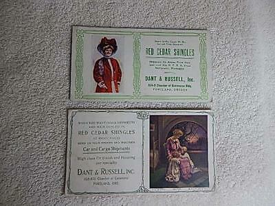 Old Ink Blotter Victorian Era Dant & Russell Inc. Portland OR Red Cedar Shingles