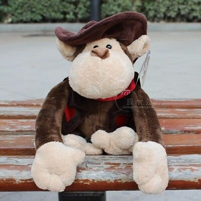 Cute 25cm brown Cowboy Monkey Stuffed Animals Plush toys baby doll toy