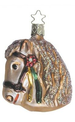 Inge Glas Horse Carousel Pony 1-486-01 German Glass Christmas Ornament