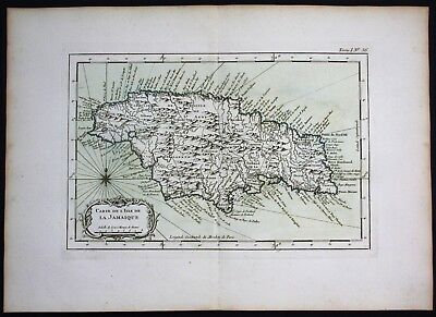 1764 - Jamaica island map Bellin handcolored antique map