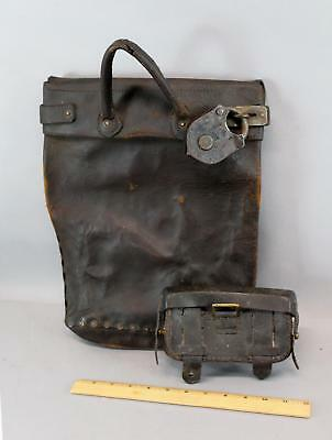 Antique Authentic Wells Fargo Leather Cartridge Box Leather Mail Pouch Iron Lock