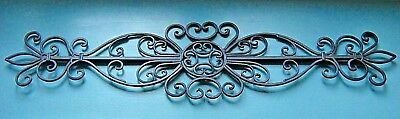 """Large 36"""" Black Formed Cast Iron Scroll Decorative Wall Or Shelf Sculpture"""