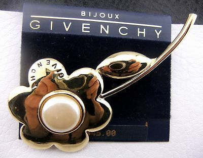 Bijoux Givenchy Faux Pearl Cabochon Highly Polished Cast Rose Pin NOS NWT
