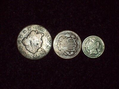 Obsolete Coins (3) - 3 Cent Nickel, 2 Cent Piece , and Large Cent