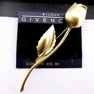 Bijoux Givenchy Vintage Satin Gold Plate Finish Single Cast Rose Pin NOS NWT